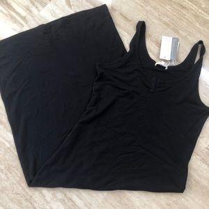 Skin Pima Cotton long black slip lounge gown